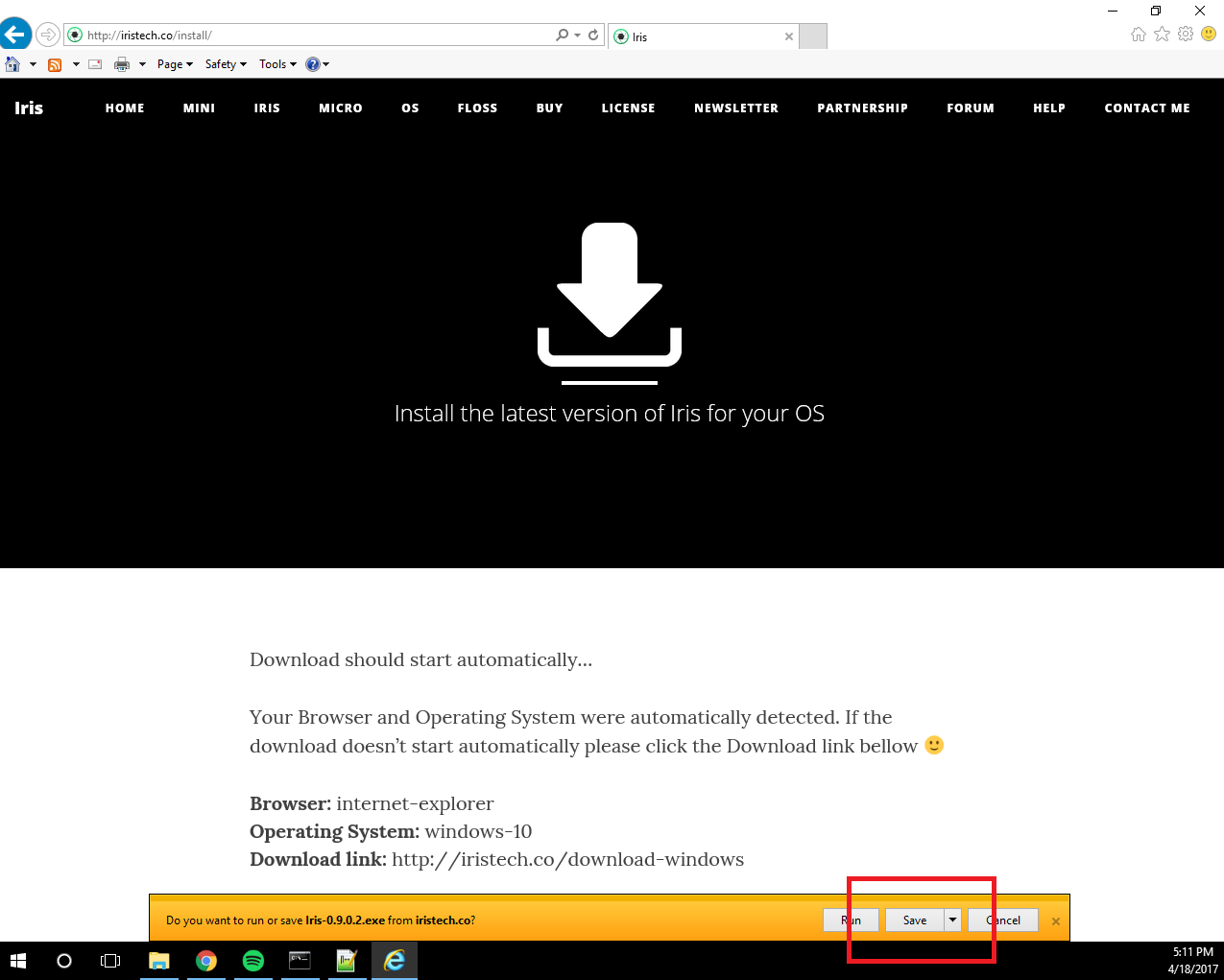 How to Download Iris with Internet Explorer on Windows 10