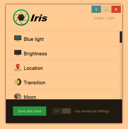 Iris- software for eye protection and productivity