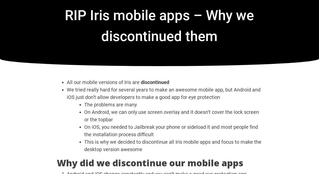 Rip Iris Mobile Apps Why We Discontinued Them Iristech
